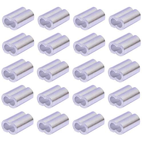 Manga de aluminio, 100pcs cable virola aluminio Crimp Ring Set para cuerda...