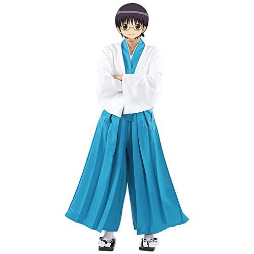 LISI Gintama Cosplay Costume Anime Kimono Uniforme Disfraz Japonés Pantalones Kendo Peluca Conjunto 4 Piezas para Hombre Carnaval,XXL