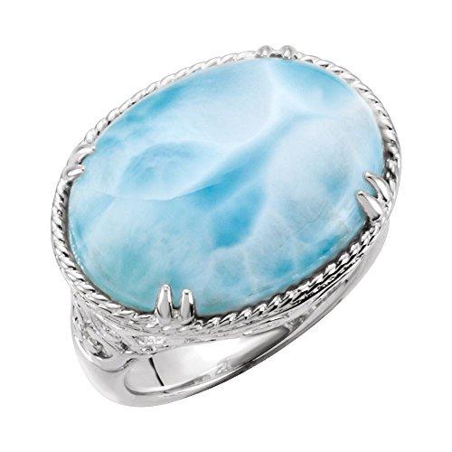 Hermoso anillo de plata de ley 925 con diseño de cuerda de larimar y pergamino viene con un regalo de joyería gratis