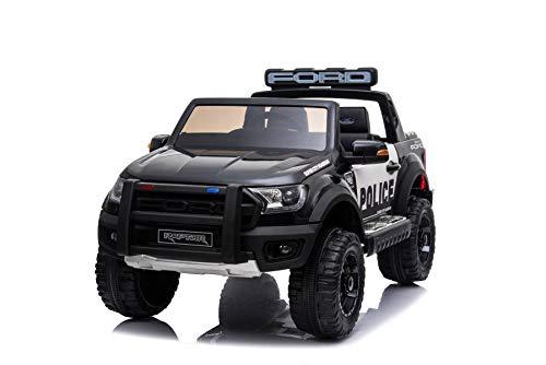 RIRICAR Elektrisches Auto für Kinder, Polizeiauto Ford Raptor, mit 2,4-GHz-Fernbedienung, 2 Sitzer, 3 bis 8 Jahre, 2 x 35W Motor
