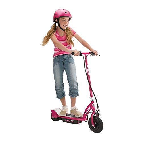 Razor E175 Kids Ride On 24V Motorized Powered Electric Scooter Toy, Speeds up to 10 MPH with Brakes, Pneumatic Tires and Youth Helmet, Pink