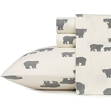 Eddie Bauer 216288 Bear Family Flannel Sheet Set, King, Gray