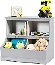 Costzon 4-Cubby Kids Bookcase with Footboard, Multi-Bin Children's Storage Organizer Cabinet Shelf with Thick Wood Board for Children Girls & Boys Bedroom Decor Room (Gray)
