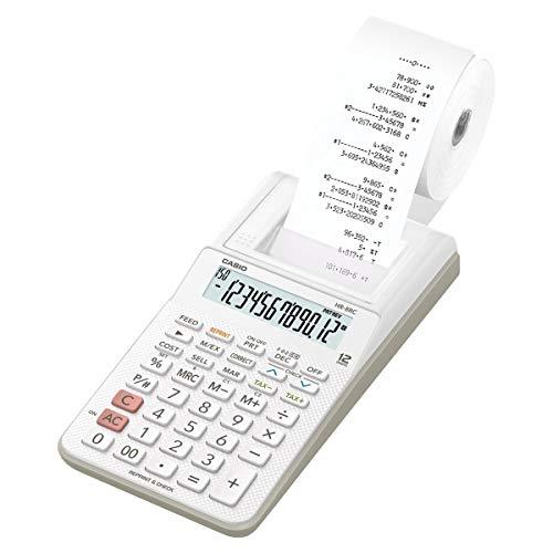 Mini Calculadora com Bobina 12 Digitos HR-8RC-WE-B-DC Branca Casio