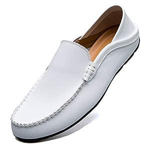 [MCICI] ローファー スリップオン ドライビングシューズ メンズ 本革 デッキシューズ 軽量 モカシン 靴 カジュアルシューズ 2種履き方 手作り 紳士靴 ビジネスシューズ ローカット職場用 スリッポン 大きなサイズ,ホワイト,26.0CM