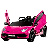 Uenjoy 12V Kids Electric Ride On Car Lamborghini Aventador SVJ Motorized Vehicles with Remote Control, Battery Powered, LED Lights, Wheels Suspension, Music, Horn,Compatible with Lamborghini,Pink