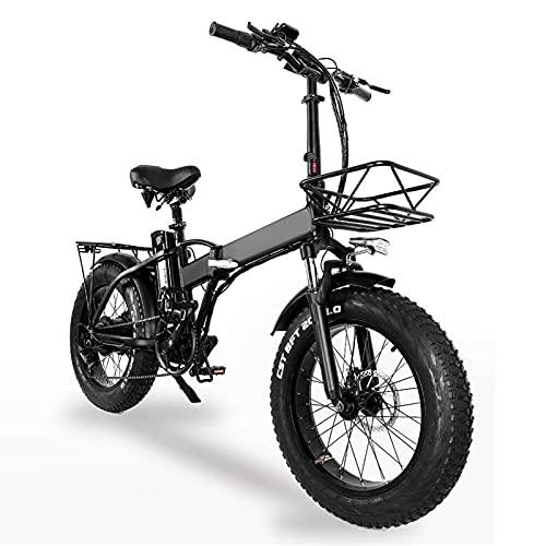 Plegable Bicicleta Eléctrica,750w City Ebike Bicicleta Eléctrica,Dieléctrico Bicicleta Montaña MTB,20 Pulgadas Batería De Litio De 48V 4.0 Neumáticos Gordos Bicicleta Electrica,Negro,20'