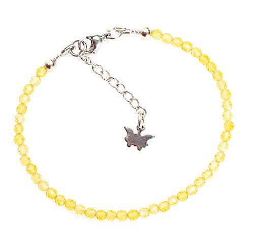Kimaya Bijoux Bracelet femme artisanal en citrine naturelle et petit papillon ~ bien-être ~