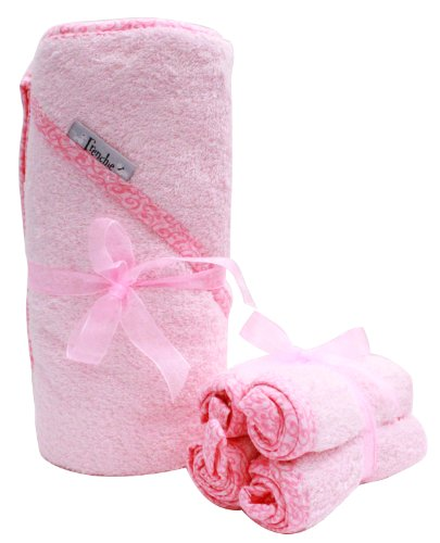 40'x30' Absorbent Hooded Towel and 4 Wash Cloth Set, Pink, Frenchie Mini Couture…