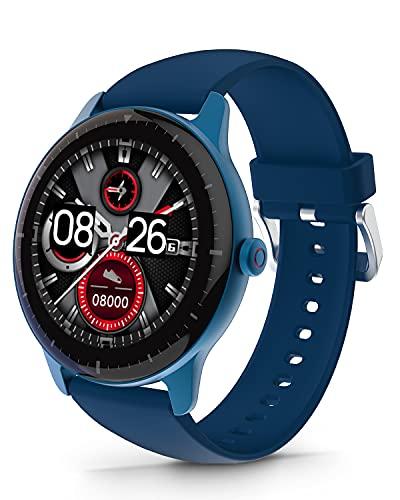 DOOGEE CR1 Smartwatch, Reloj Inteligente Impermeable IP68 para Hombre Mujer Niños con Pulsómetro, Batería de 300mAh, Monitor de Sueño, 1.28 Inch Reloj Deportivo 13 Modos para Android iOS, Azul