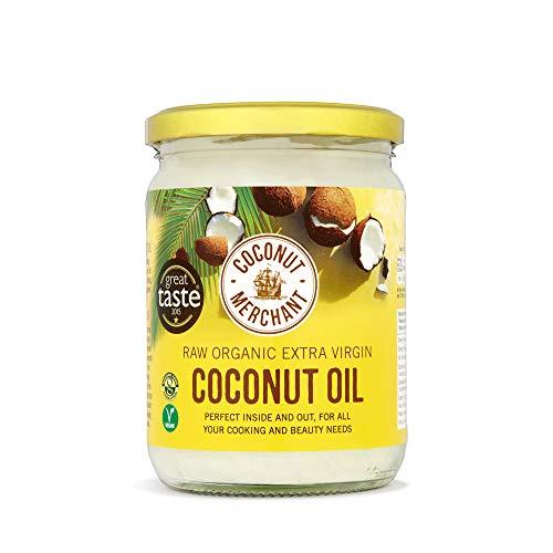 Coconut Merchant Huile de Coco Bio 500ml | Extra Vierge, Crue, Pressée à Froid, Non Raffinée | Du Commerce Équitable, Végétalienne, Cétogène et 100% Naturelle | pour Cheveux, Peau & Cuisine, 500ml