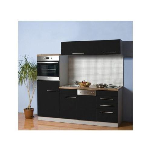 MEBASA Küchenzeile 200 cm Anthrazit Duo-Plattenkochfeld