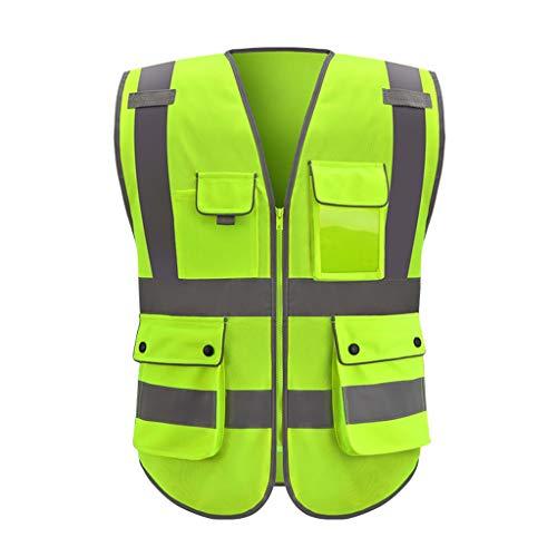 DBL Warnweste Mehrfach-Arbeitskleidung Warnwesten Reisen bei Nacht Sicherheit Unisex Sicherheitswesten (Color : Fluorescent yellow, Size : XL)