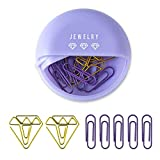 YOSCO Paper Clip Holders Dispensers with 25pcs Paper Clips and for Desk Paper Clip Organizer Accessories (Purple)