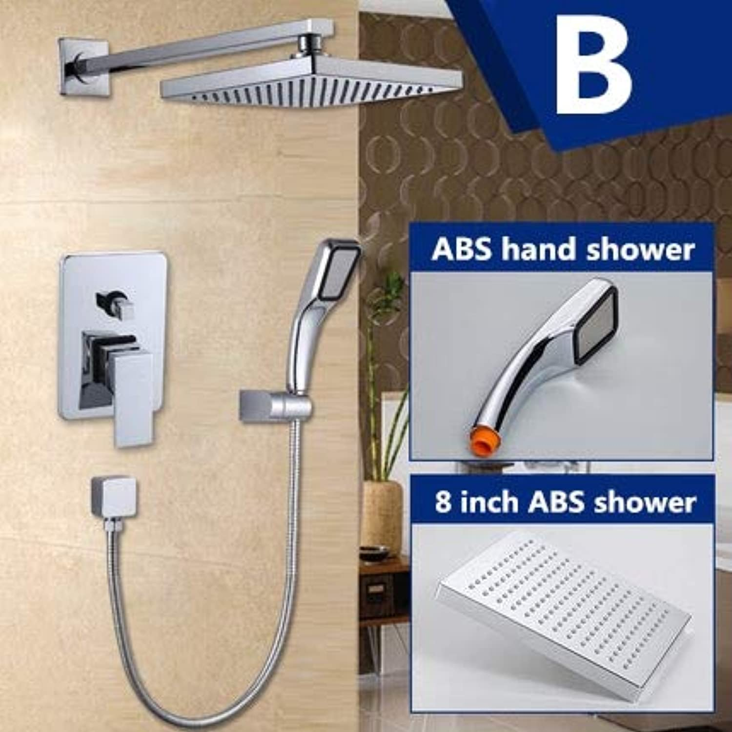 Free shipping rain shower sets brass chrome shower faucet with 8 inch shower head+ABS hand shower,Gelb