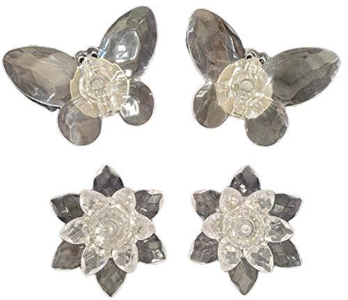 Velas Led Efecto LLama Decorativa Cristal Pack 4 Forma Mariposa Flor de loto   Iluminacion Sin Cables Colores Ambiente Romanticas Hogar Decoracion Luz Vela Adornos Para Jardin Luces