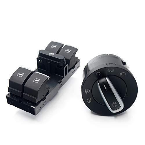 NAWQK Cambio de botón de la Ventana de la Ventana del Faro 2 unids Fit para Jetta Fit for Golf 5 6 Tiguan Passat B6 B7 CC GTI 5ND959857 5ND941431A