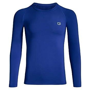 Boys  Compression Shirt Youth Fleece Thermal Long Sleeve Cold Gear Undershirts for Boys  Blue Medium