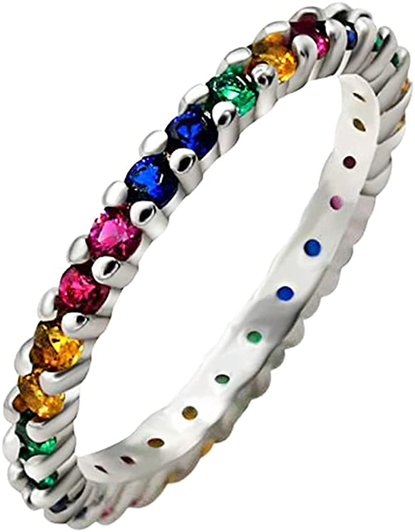 Biggold Eternity Rainbow service Ring Wedding 70% OFF Outlet Sterlin for Band 925 Women