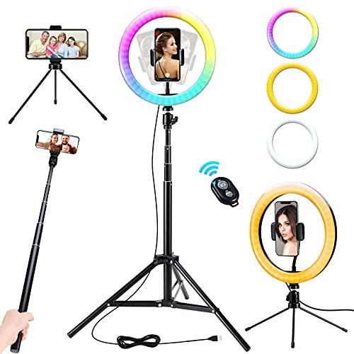 10 Zoll LED Selfie Ringlicht mit Stativ, Frontoppy TikTok Blitzschuhe mit 16 Farbe und 10 Helligkeitsstufen, Live Licht für Schöne Fotos oder Videosschooting, Live Streaming, Volg, Schminken Usw