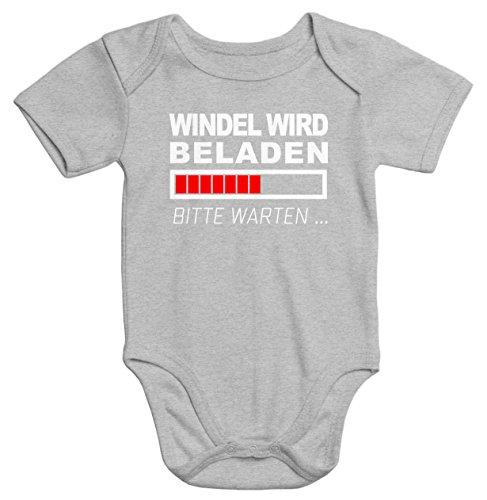 MoonWorks lustiger Baby-Body Windel Wird beladen Bio-Baumwolle Kurzarm Aufdruck grau 0-3 Monate