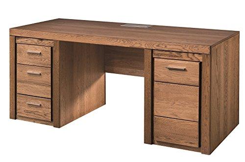 Schreibtisch Velvet 37, Arbeitstisch, Bürotisch, Büroschreibtisch, Schreibmöbel mit 3 Schubladen 1 Tür und Steckdose, Massivholz Eiche und Furnier (Rustical Eiche)