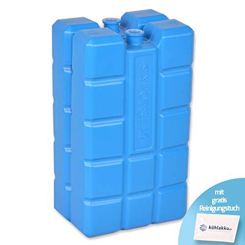 Kühlakku 2er Pack 2 x 400g, 12h Kühlleistung! Iceblock Kühlakkus für Kühltaschen oder Kühlboxen, blau mit gratis Kühlakku Reinigungstuch