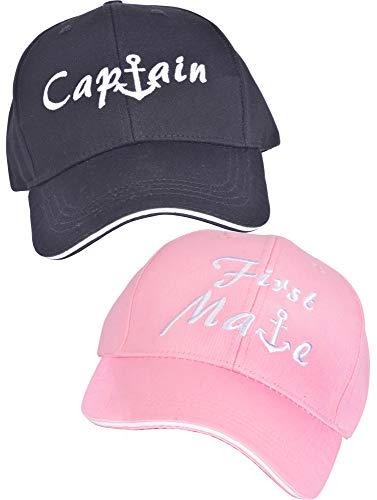 Captains & First Mate Hüte | 2 Stück | Marine-Hüte in Schwarz und Pink, passende Skipper Bootfahren Baseballkappen, Kapitänsmütze für Bootfahren