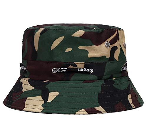 CHENNUO Unisex Fischerhut Baumwolle Bucket Hat Camouflage Anglerhut Sonnenhut Freizeithut Schlapphut (Armee grün)