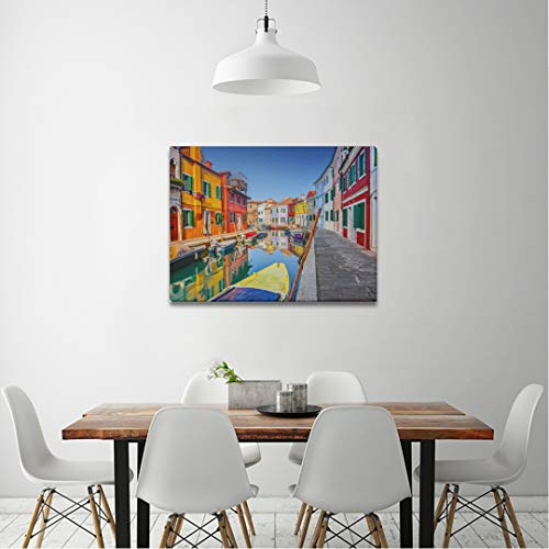 Canvas Prints Framed Wall ArtColorful Houses Burano Venice Italy for Bedroom Artwork Wall Decor Pics for Living Room Decor Ready to Hang
