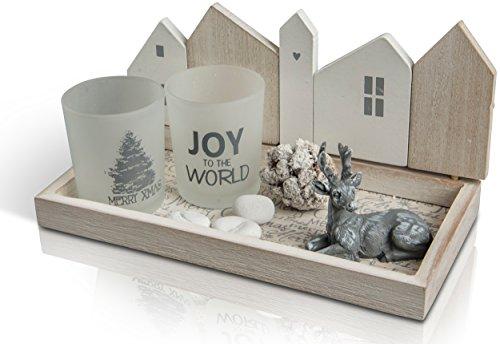 CHICCIE Vassoio con renna e portacandele – 20 cm – Decorazione natalizia