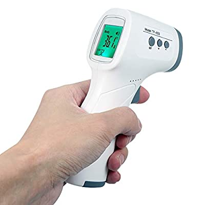 Thermometer, Medical Forehead Infrared Thermometer for Baby Kids and Adults, Precision Digital Temporal Thermometer with Fever Indicator, No Touch - Grey
