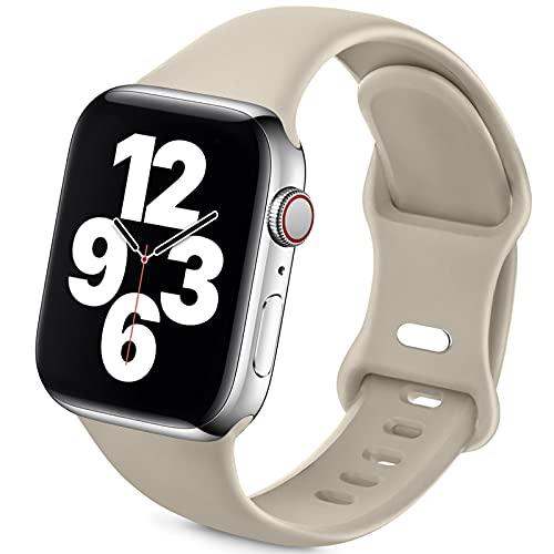 Jiamus Pulsera deportiva compatible con Apple Watch, 38 mm, 42 mm, 40 mm, 44 mm, silicona suave, correa de repuesto para iWatch Series 6, 5, 4, 3, 2, 1, SE