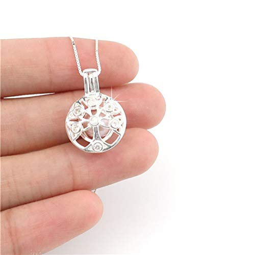 Necklace Pearl Gift Cage Hollow Beauty Box Pendant 925 Sterling Silver Necklace Ladies Gift
