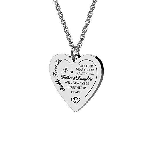 Haoflower to My Daughter Whether Near Or Far Apart We Will Always Be Together by Heart Luxury Pendant Necklace Gift from Daddy Mommy (Daddy Loves You)