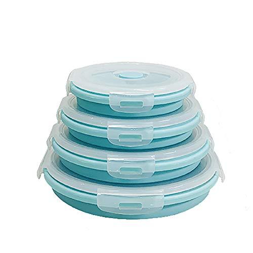 GONGMICF Tazón Plegable Establece,Almacenamiento de Alimentos Vajilla al Aire Libre,Silicona Plegable Caja de Almuerzo Ensalada portátil Tazón con Tapa para Acampar al Aire Libre Senderismo B,b