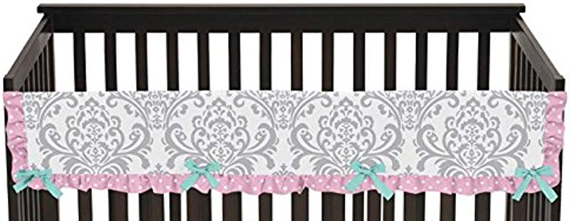 Sweet Jojo Designs Skylar Turquoise Blue Pink And Gray Damask Long Front Rail Guard Baby Teething Cover Crib Protector Wrap