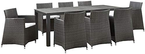 Hawthorne Super popular specialty store Collection 9 latest Piece Outdoor Dining Brown Whi Set in and