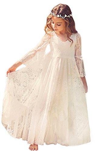 Mädchen Prinzessin Kleid Spitzen Blumenmädchen Kleid Festkleid 100-155CM MisShow, Ivory white, 145(10-11 Jahr)