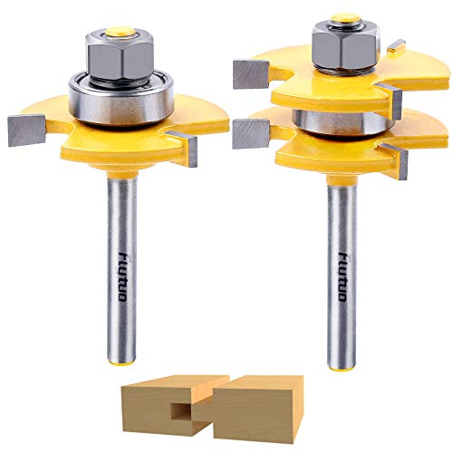 Flytuo Tongue and Groove Set of 2 Pieces 1/4 Inch Shank Router Bit Set 3 Teeth Adjustable T Shape Wood Milling Cutter