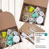 Boann - Caja Regalo Nº1 Personalizada (Chupete + Cadena + Sonajero + Portachupete) (Menta, Látex 0-6 meses)