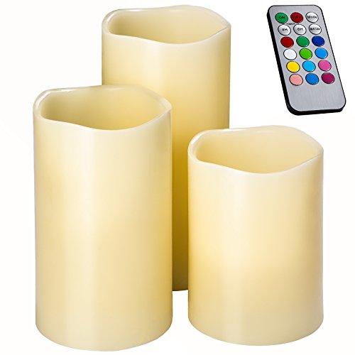 TecTake LED Kerzen mit Fernbedienung und Timer | Farbwechselkerzen batteriebetriebene | diverse Mengen (3er Set | no. 402409)