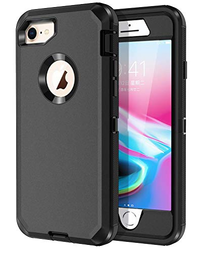 I-HONVA for iPhone 8 Case, iPhone 7 Case Built-in Screen Protector Shockproof Dust/Drop Proof 3-Layer Full Body Protection Heavy Duty Durable Cover Case for Apple iPhone 8/7 4.7-inch, Black