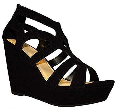 TOP Moda Ella Women's Strappy Open Toe Platform Wedge Black 9
