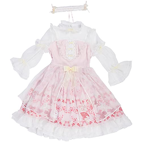 WKNBEU Japonés Lolita Vestido Sakura Sweet Kawaii Ropa Victorian Vintage Mujer Rosa Vestido Princesa Té Party Dresses Pink-L
