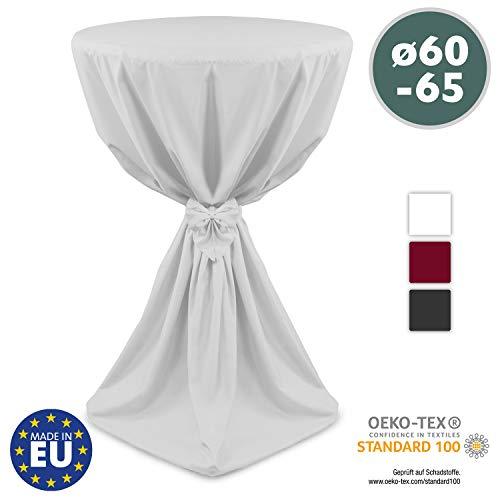 Beautissu Stehtischhusse Weiß Ø60 x 145 cm Giulia Microfaser Stehtischhussen mit elegantem Satinband