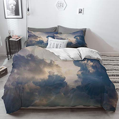 3 Piece Duvet Cover Set No Wrinkle Ultra Soft Bedding Set,Clouds,Majestic Rain Storm Clouds over the Sky High above the Ground Environment Scener,2 pillowcase 50 x 75cm 1 Pc Bed sheet 260 x 220cm