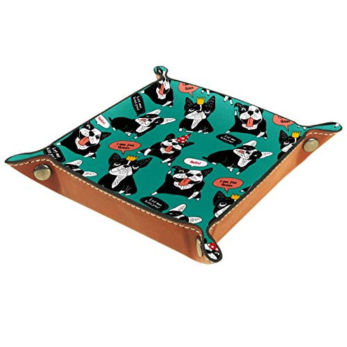MUMIMI Plato cuadrado de cuero para mujeres y niñas, bandeja para joyas, diseño de perro, regalo de cumpleaños para el día de la madre