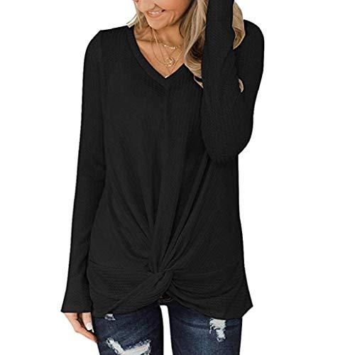 Herbst Winter Langarmshirt,Trisee Oversize Sweatshirt in vielen Trend Farben Tops Bluse mit Schleife Waffel Stricke Pulli V-Ausschnitt Pullover Weich Tunika