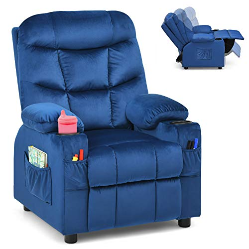 Costzon Kids Recliner Chair with Cup Holder, Adjustable Velvet Lounge Chair w/Footrest & Side Pockets for Children Boys Girls Room, Ergonomic Toddler Furniture Sofa, Kids Recliner (Blue)